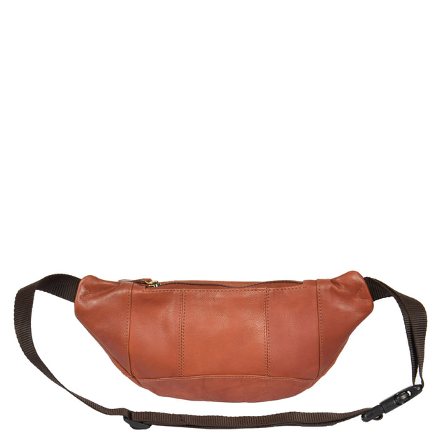 Real Leather Bum Bag Money Mobile Belt Waist Pack Travel Pouch A072 Brown Back