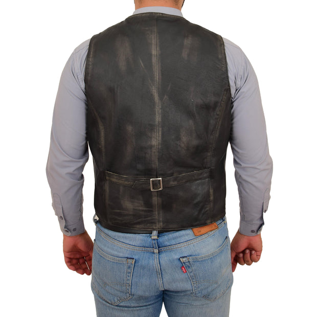 Mens Full Leather Waistcoat Rub Off Gilet Traditional Smart Vest King Back