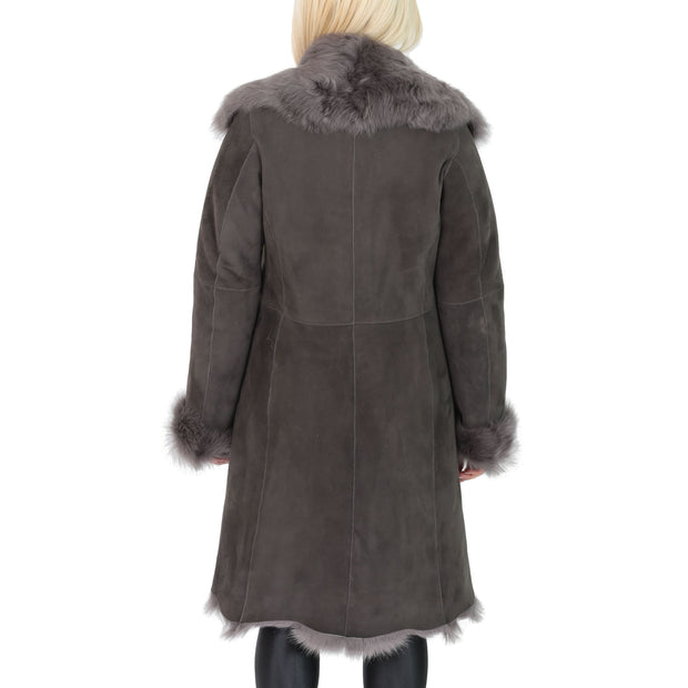 Womens Luxurious Toscana Long Coat Real Sheepskin Pamela Grey back