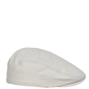 Genuine White Leather Flat Cap English Granddad Baker-boy Hat Arthur Side