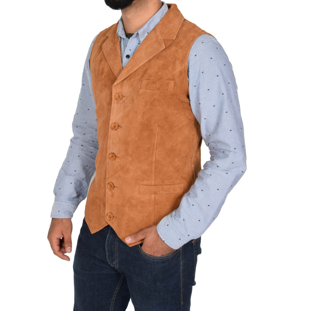 Mens Real Suede Leather Waistcoat Classic Vest Yelek Status Tan Front 2