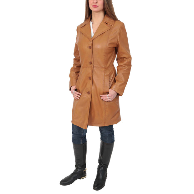 Womens 3/4 Button Fasten Leather Coat Cynthia Tan Full 1