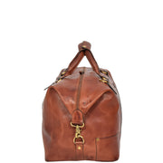 Genuine Leather Holdall Vintage Tan Travel Weekend Duffle Bag Rome Side