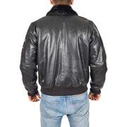 Mens Pilot Leather Jacket Air Force Badges Bomber Coat Luca Black Back
