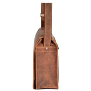Mens Messenger TAN Vintage Leather Laptop Office Bag A48 Side