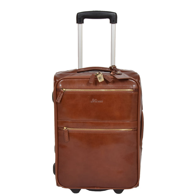 Exclusive Leather Trolley Hand Luggage Cabin Suitcase Concorde Chestnut Front