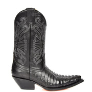 Real Leather Pointed Toe Croc Print Cowboy Boots AC229 Black Side 1