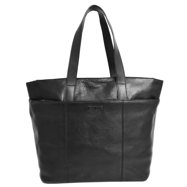 Womens Genuine Black Leather Shoulder Bag Large Tote Day Handbag KAY