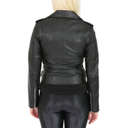 Womens Biker Leather Jacket Stylish Short Slim Fit Girls Coat Moira Black Back