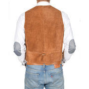 Mens Real Suede Leather Waistcoat Classic Vest Gilet Cole Tan Back