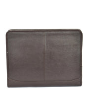 Zip Around Folio Leather Folder A4 Binder Organiser Underarm Bag A1 Brown Front