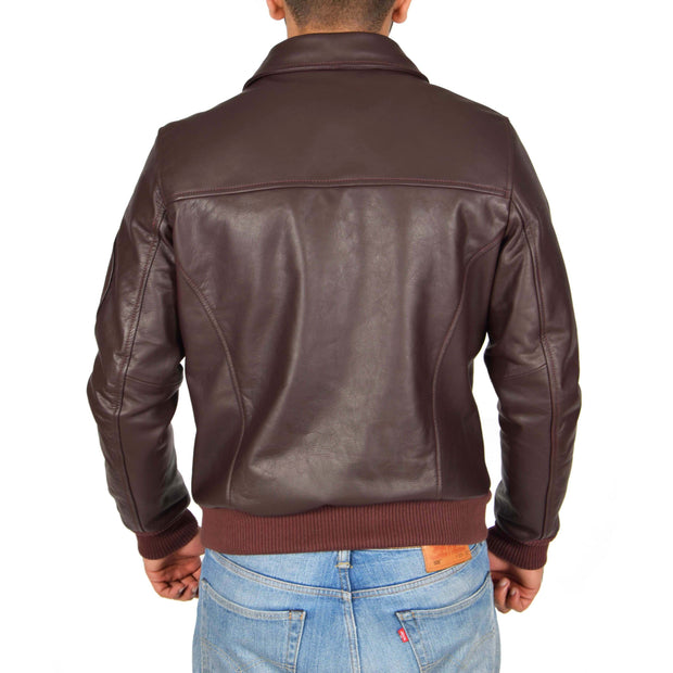 Mens Real Cowhide Bomber Leather Pilot Jacket Lance Burgundy Back