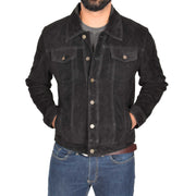 Mens Real Soft Goat Suede Trucker Denim Style Jacket Chuck Black Front 1