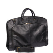 Genuine Soft Leather Suit Carrier Dress Garment Bag A173 Black Front Angle