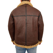 Mens Brown Real Sheepskin B3 Flying Bomber Jacket Shearling Aviator Pilot Coat Larry Back