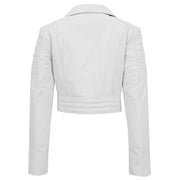 Womens Fitted Cropped Bustier Style Leather Jacket Amanda White 1