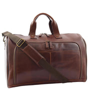 Genuine Leather Holdall Weekend Gym Business Travel Duffle Bag Ohio Brown