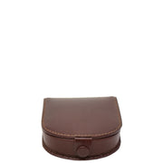 Real Leather Classic Coin Tray Wallet Small Pouch Loose Change Purse AVT5 Brown Front
