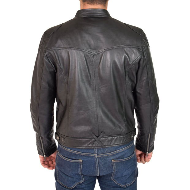 Mens Leather Jacket Biker Style Zip up Coat Bill Black Back