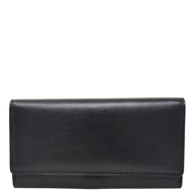 Womens Soft Leather Clutch Purse Envelope Style Wallet AVT3 Black Front