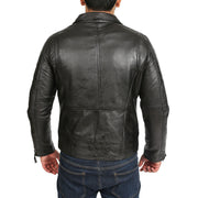 Mens Black Leather Biker Jacket X-Zip Fasten Trendy Designer Coat Max Back