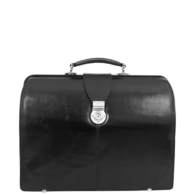 Exclusive Doctors Leather Bag Black Italian Briefcase Gladstone Bag Doc Front 1