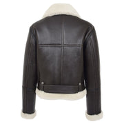 Womens Luxurious Brown Genuine Sheepskin Flying Jacket White Shearling Harriet Back