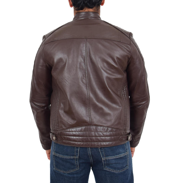 Mens Cafe Racer Biker Leather Slim Fit Jacket Teddy Brown Back