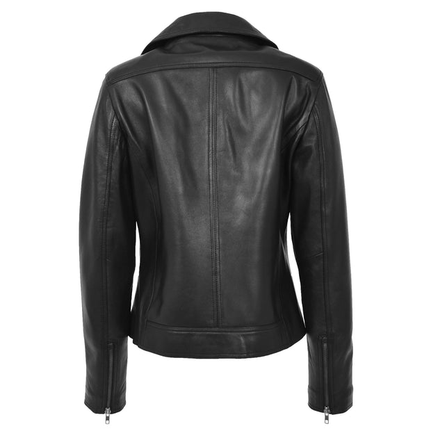Womens Genuine Leather Biker Jacket Designer Fitted Coat Myla Black Back