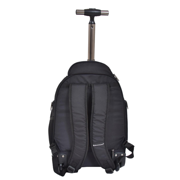 Wheeled Backpack Cabin Hand Luggage Travel Bag Hiking Rucksack Jenkins Black Back