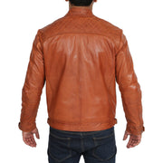 Gents Fitted Biker Leather Jacket Django Cognac Back