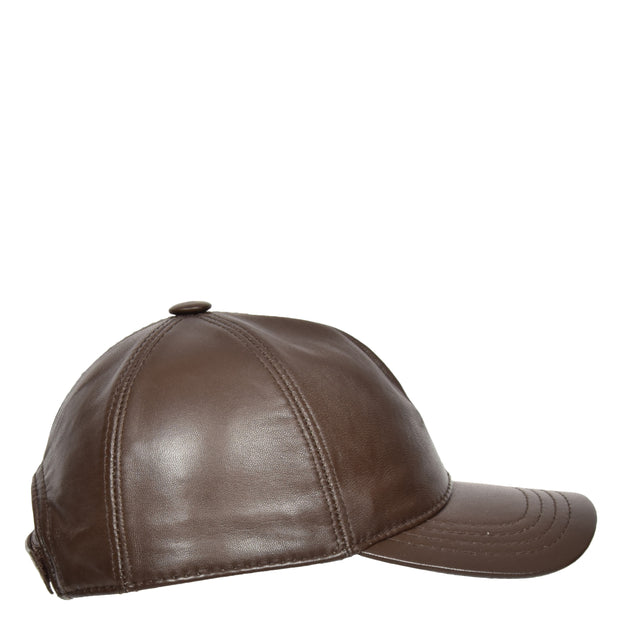 Genuine Leather Baseball Cap Sports Casual Viper Brown Side