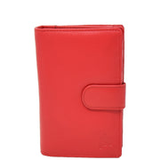 Womens Soft Real Leather Purse Trifold Booklet Clutch AL22 Red Front