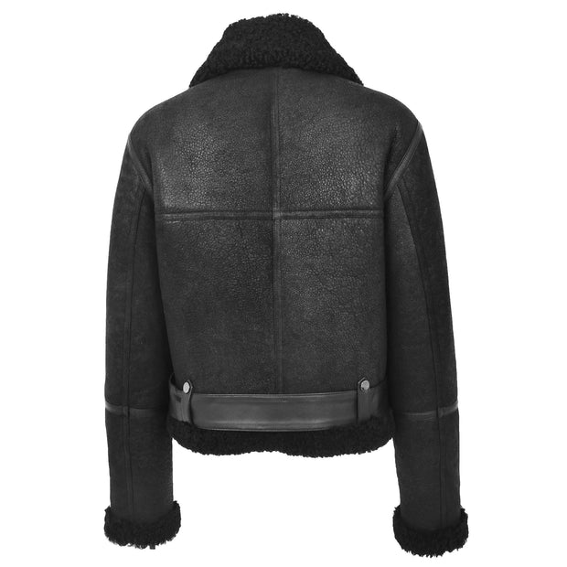Womens Luxurious Genuine Sheepskin Flying Jacket Real Black Shearling Harriet Back