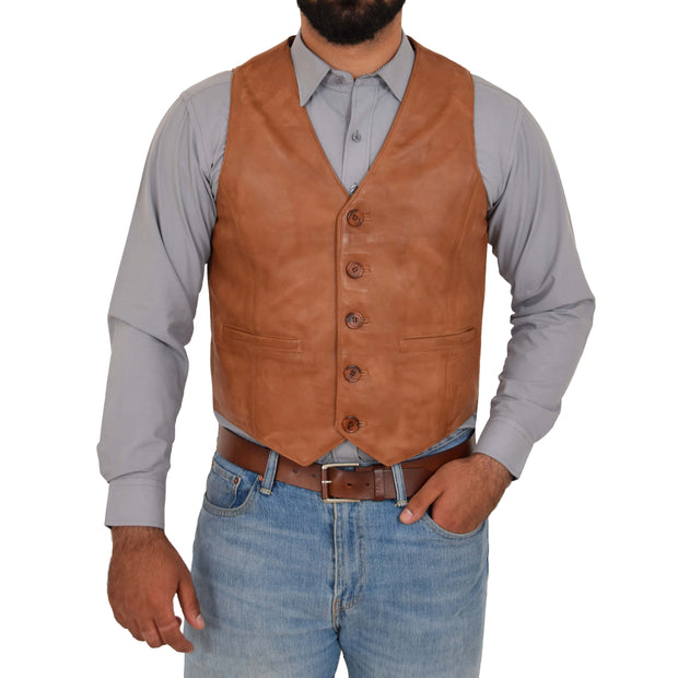Mens Full Leather Waistcoat Gilet Traditional Smart Vest King Tan Front 1