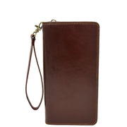 Real Italian Leather Travel Passport Wallet Boarding Pass Clutch Purse AVM10 Brown Front