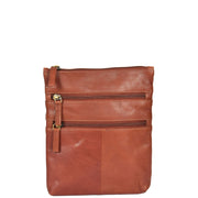 Womens Cross-Body Real Leather Shoulder Travel Bag A606 Brown Front