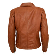 Ladies Soft Leather Jacket Fitted Collared Zip Fasten Biker Style Leah Tan Back