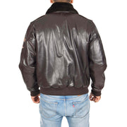 Mens Pilot Leather Jacket Air Force Badges Bomber Coat Luca Brown Back