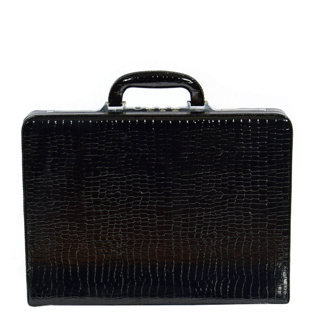 Slimline Black Leather Attache Croc Print Briefcase Dual Lock Office Bag Mark Front