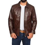 Mens Classic Zip Fasten Box Leather Jacket Tony Brown main
