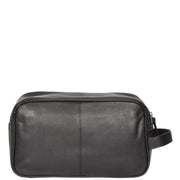 Wash Leather Bag Travel Toiletry Shaving Kit Wrist Bag A98 Black Front