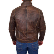 Rust Rub Off Biker Leather Jacket For Men Vintage Rugged Style Coat Mario Back