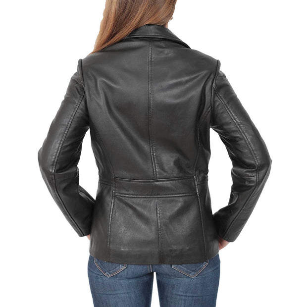 Ladies Leather Blazer Coat Fitted Classic Hip Length Jacket Judy Black Back