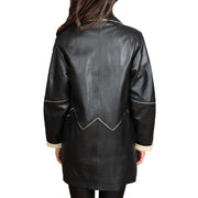 Ladies Classic Parka Real Leather Coat Trim Jacket Lulu Black-Beige Back