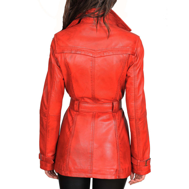 Womens Soft Leather Trench Coat Olivia Red Back