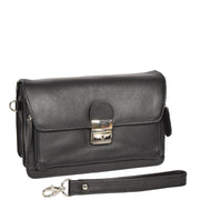 Real Leather Wrist Pouch Organiser Clutch Bag A853  Black With Strap