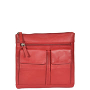 Womens Cross-Body Leather Bag Slim Shoulder Travel Bag A08 Red Front
