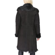 Womens Luxurious Toscana Long Coat Real Sheepskin Pamela Black Back