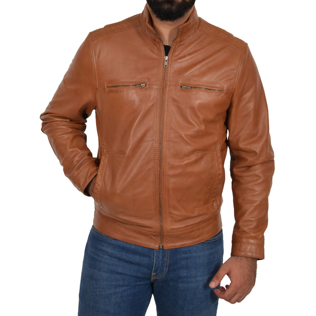 Mens Genuine Leather Biker Jacket Fitted Zip Up Coat Felix Tan